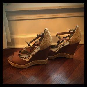 """Sam Edelman 4"""" camel tan wedge sandals, w/twill"""